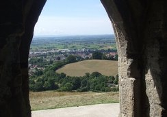 The view through the archway of Glastonbury Tor Tower