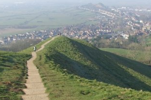 The Pilgrims' Path from the mount of Glastonbury Tor